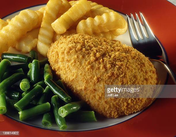 Chicken kiev with chips & beans