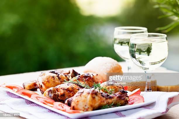 chicken leg wine summer picnic