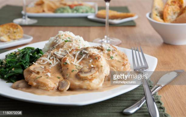 chicken marsala dinner - sauce stock pictures, royalty-free photos & images