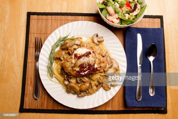 Chicken Marsala with Sun dried Tomatoes and Pasta