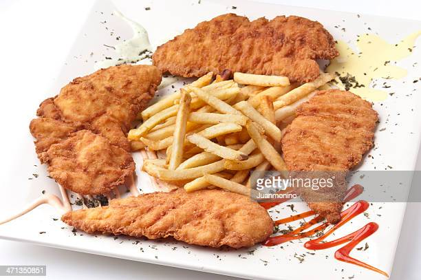 chicken milanese and chips - milanese stock pictures, royalty-free photos & images