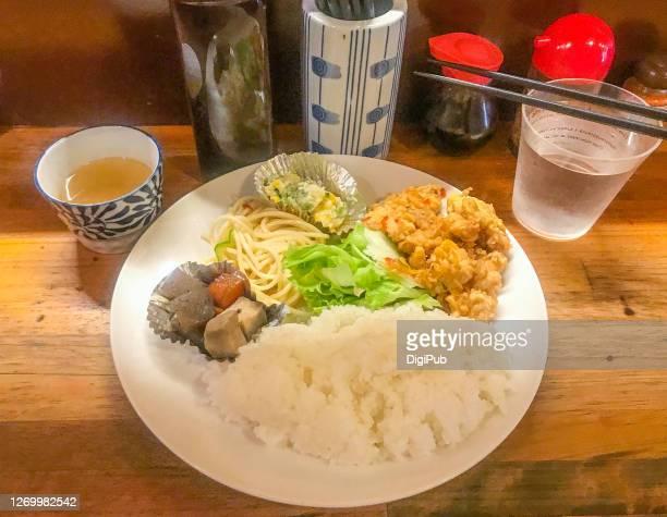 chicken nanban lunch plate at an okinawan tavern - nimono bildbanksfoton och bilder