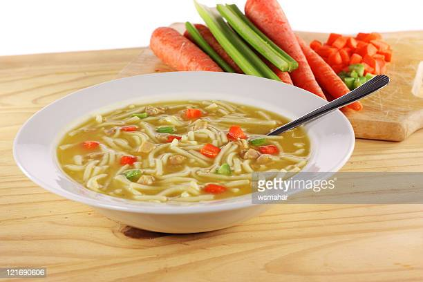 chicken noodle soup - chicken soup stock photos and pictures