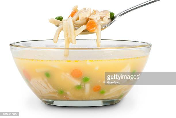 chicken noodle soup with a clipping path