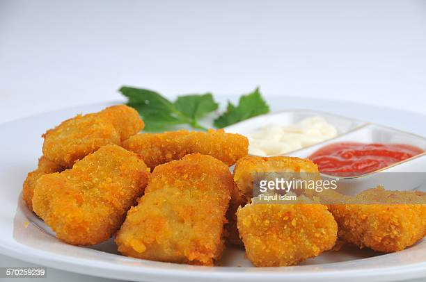 Chicken nuggets on plate