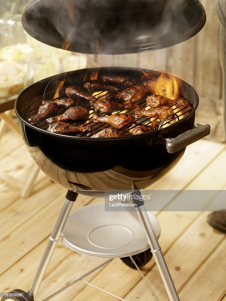 Chicken on a Charcoal BBQ : Stock Photo