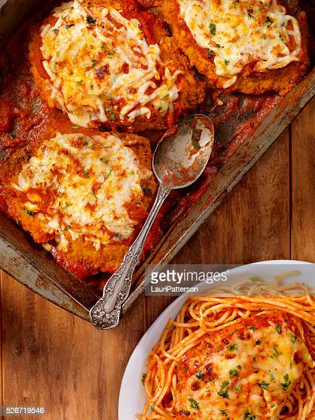 chicken parmesan with spaghetti - parmesan cheese stock pictures, royalty-free photos & images