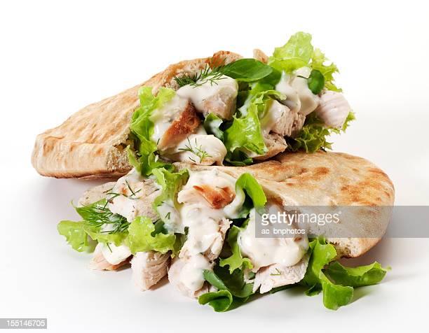 Chicken pita bread sandwich