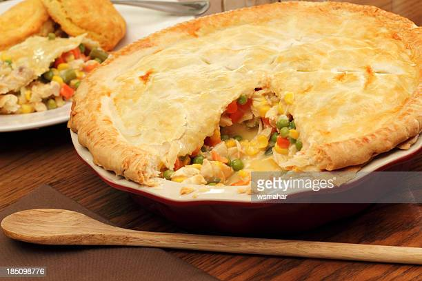 chicken pot pie - savory pie stock photos and pictures
