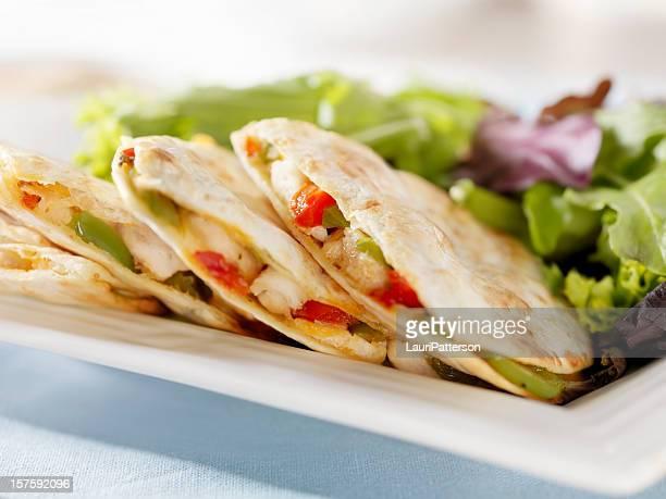Chicken Quesadilla with a Garden Salad