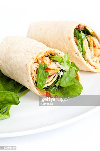 chicken salad sandwich wrap - tortilla flatbread stock photos and pictures