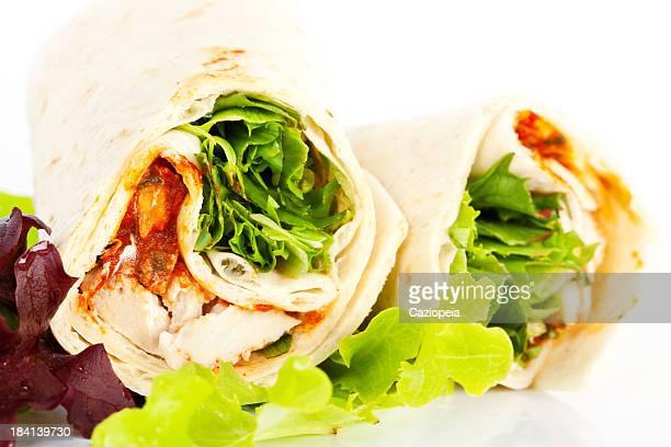 chicken salad sandwich wrap - side salad stock pictures, royalty-free photos & images