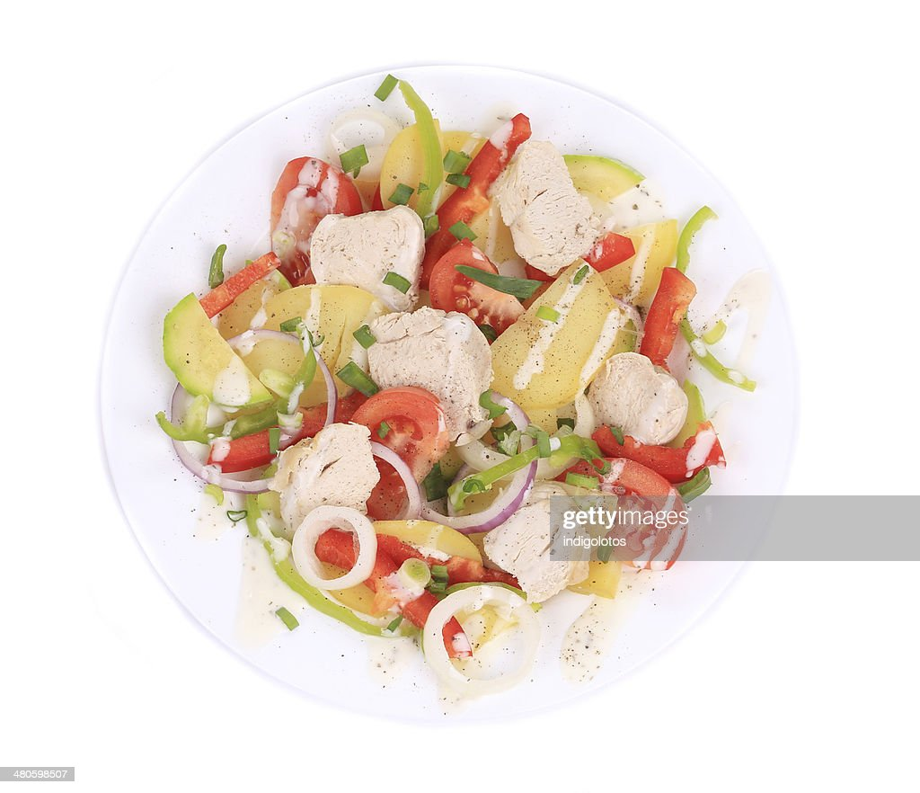 Chicken salad with potatoes : Stock Photo