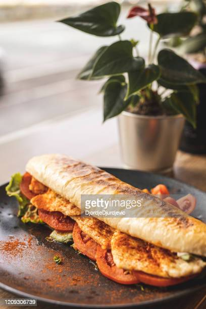 chicken sandwich at the restaurant - submarine photos stock pictures, royalty-free photos & images