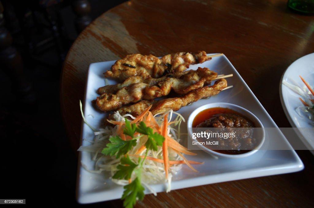 Chicken Satay Sticks At A Pub In London England United Kingdom Stock