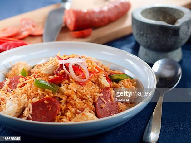 chicken sausage jambalaya - chorizo stock pictures, royalty-free photos & images