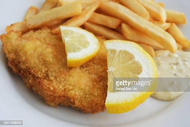 chicken schnitzel served with fired potatoes lemon and tartar sauce - rafael ben ari photos et images de collection