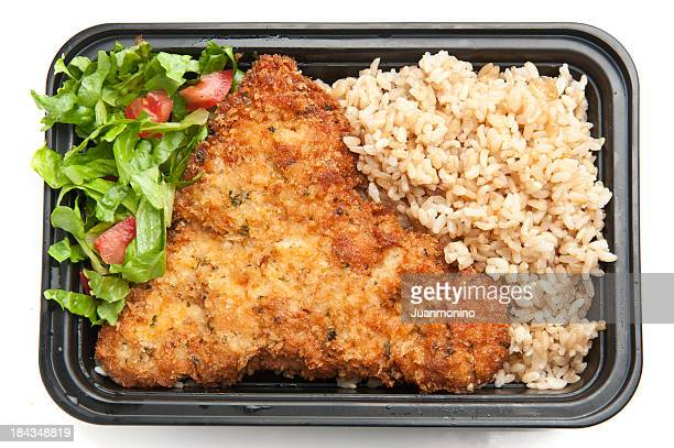 Chicken Schnitzel with brown rice and salad