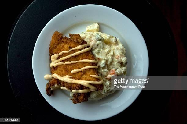 Chicken Schnitzel with potato salad at Bistro Bohem in Washington DC on May 9 2012