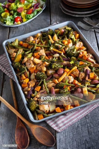 chicken sheet pan - baking sheet stock pictures, royalty-free photos & images