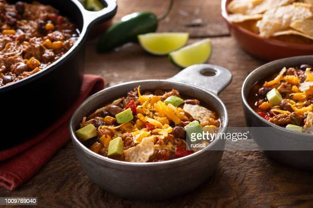 chicken taco soup - chili stock photos and pictures