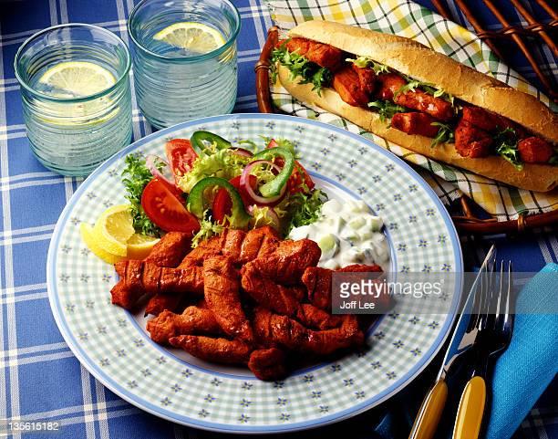 chicken tikka & salad - tikka masala stock pictures, royalty-free photos & images