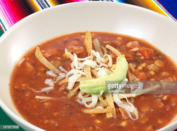 chicken tortilla soup - chicken soup stock photos and pictures