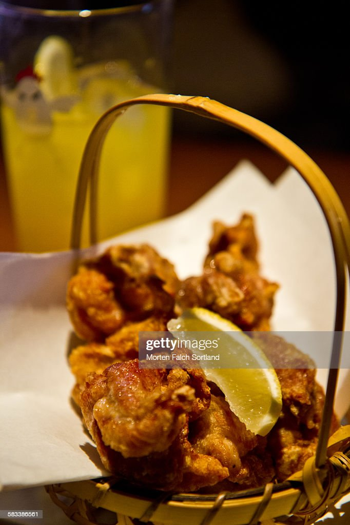 Chicken wings on a basket : Stock Photo