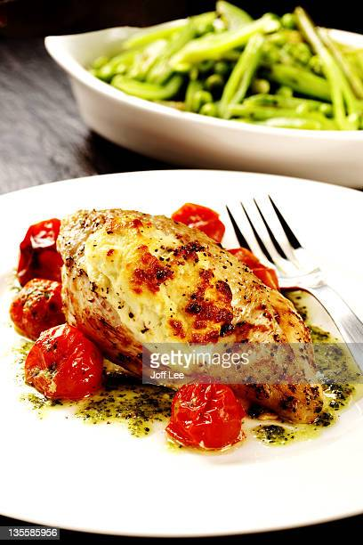 Chicken with goats cheese and pesto sauce