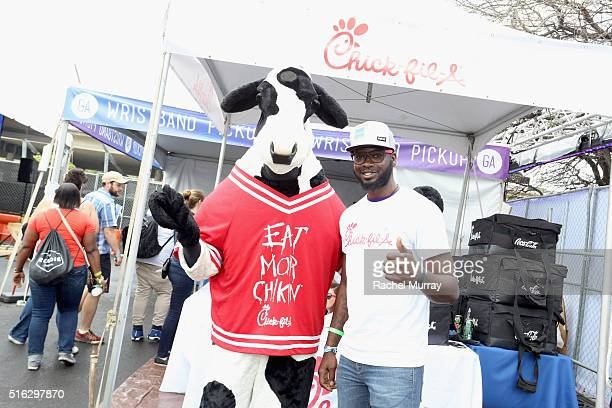 ChickfilA cow and brand ambassador attend the PANDORA Discovery Den SXSW on March 17 2016 in Austin Texas