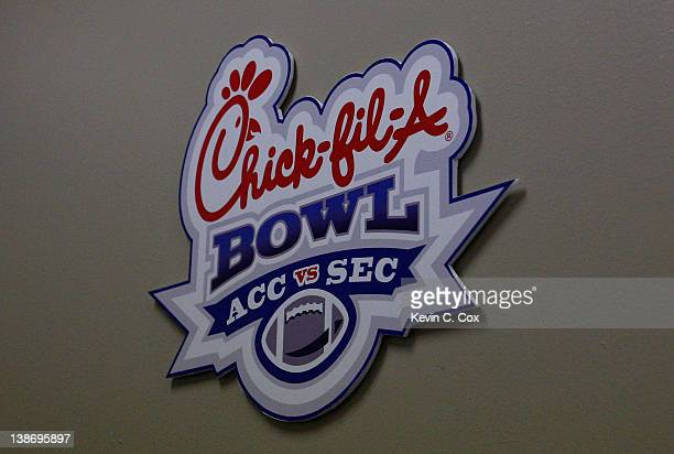 ChickfilA logo prior to the game between the Virginia Cavaliers and the Auburn Tigers during the 2011 Chick FilA Bowl at Georgia Dome on December 31...