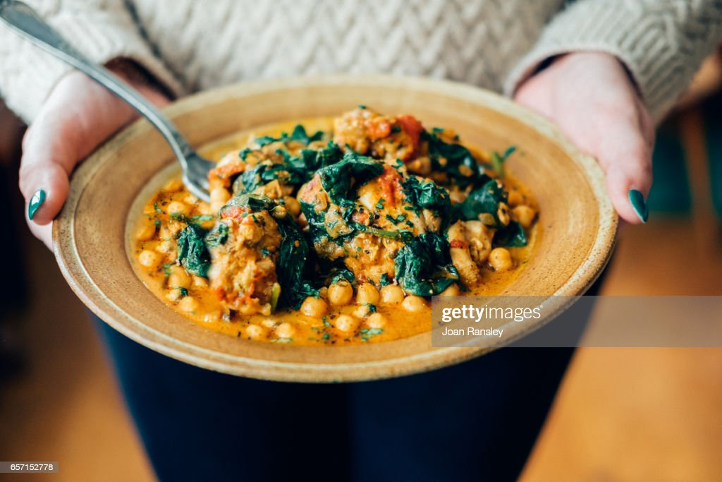Chickpea and spinach curry : Stock Photo