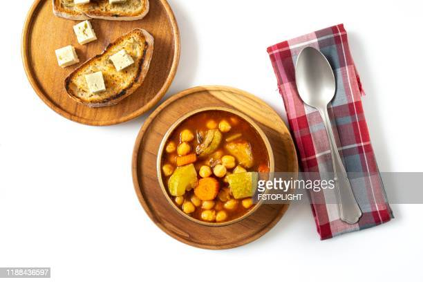 chickpea vegetarian soup - soup bowl stock pictures, royalty-free photos & images