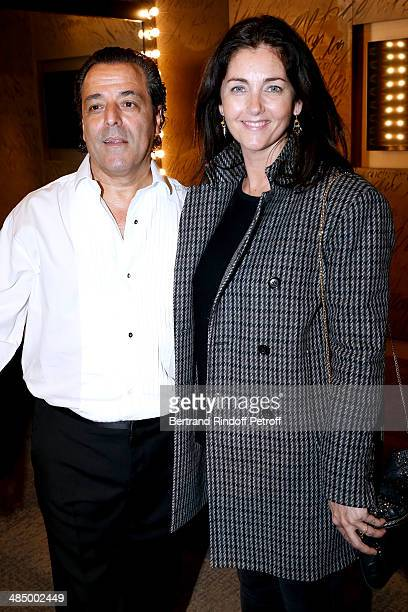 Chico and actress Cristiana Reali pose backstage after the Concert of 'Chico The Gypsies' with 50 gypsy guitars at L'Olympia on April 14 2014 in...