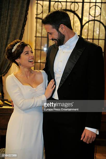 Chico García and Aida de la Cruz are seen during 'El Secreto de Puente Viejo' set filming on January 14 2016 in Madrid Spain