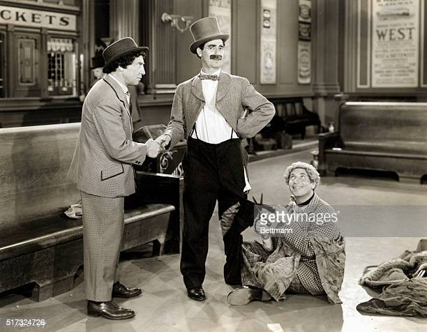 Chico Groucho and Harpo Marx in a scene from Go West 1940 Directed by Edward Buzzell for MGMFeb 1941 movie still
