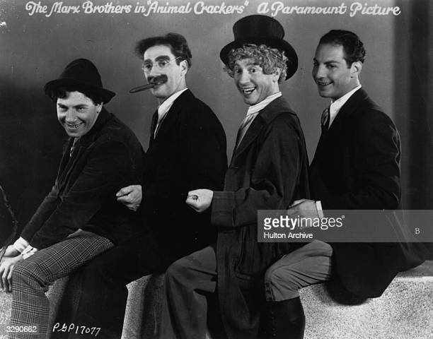 Chico Groucho Harpo and Zeppo Marx star in the film 'Animal Crackers' directed by Victor Heerman and produced by Paramount Pictures