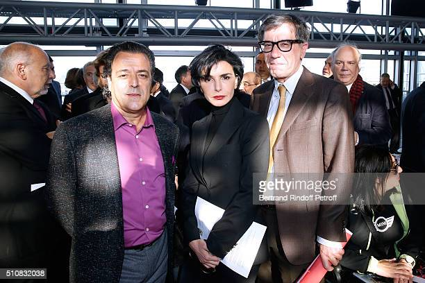 Chico of Gipsy Kings Group Politician Rachida Dati and President of the Centre Pompidou Serge Lasvignes attend King Mohammed VI of Morocco and French...