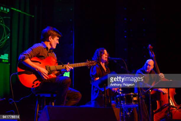 Chico Pinhiero of Luciana Souza's Word Strings perform on stage at Revolution Hall as part of PDX Jazz Festival in Portland Oregon USA on 18th...