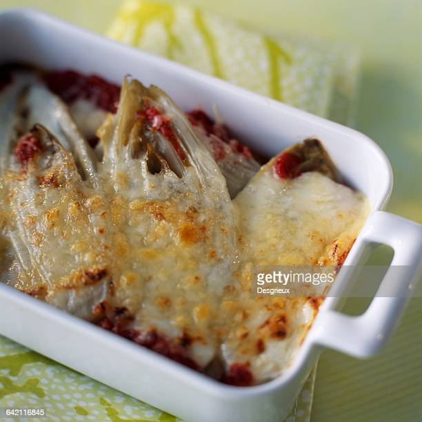Chicory and tomato gratin