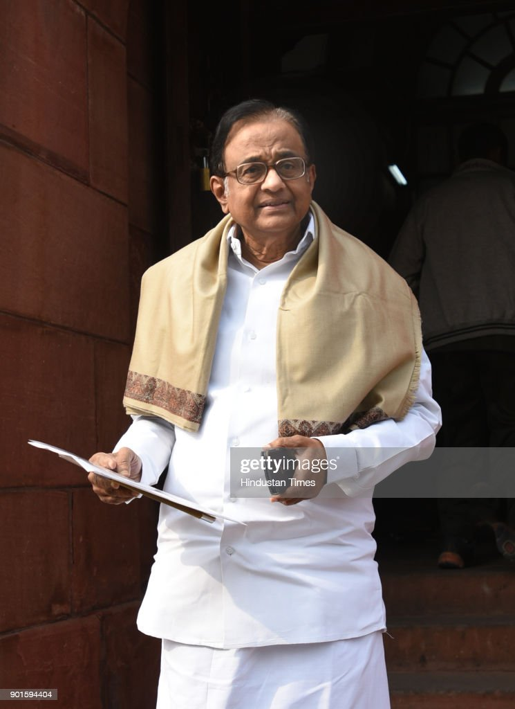 P. Chidambaram, during the last day of the parliament winter session at Parliament House on January 5, 2018 in New Delhi, India. The last day of the winter session of Parliament concluded on Friday without passing the triple talaq bill in Rajya Sabha. The triple talaq bill, which criminalizes the practice of instant divorce among Muslims, was tabled in the Rajya Sabha on Wednesday. The Congress and the opposition parties, which have numbers in their favour in the upper house, want the proposed legislation to be referred to the Select Committee, but the BJP has rejected the demand.
