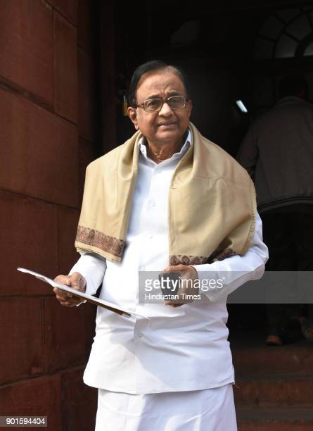 P Chidambaram during the last day of the parliament winter session at Parliament House on January 5 2018 in New Delhi India The last day of the...