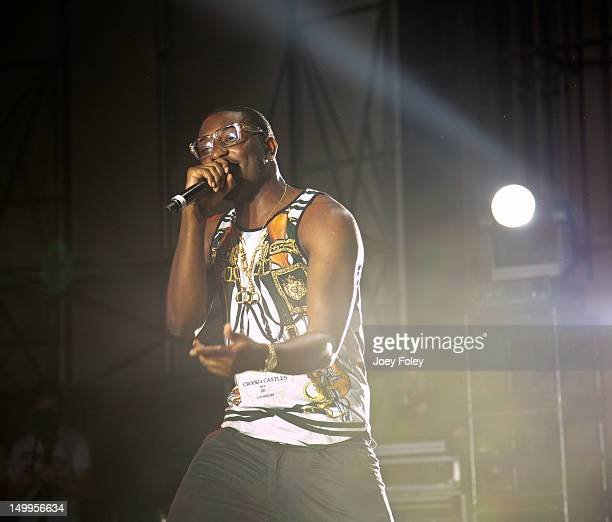 Chidera 'Chiddy' Anamege of Chiddy Bang performs onstage on the opening night of the 'Under the Influence Tour' at Riverbend Music Center on July 26...