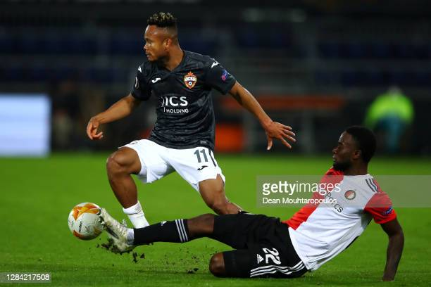 Chidera Ejuke of CSKA Moscow battles for the ball with Lutsharel Geertruida of Feyenoord Rotterdam during the UEFA Europa League Group K stage match...