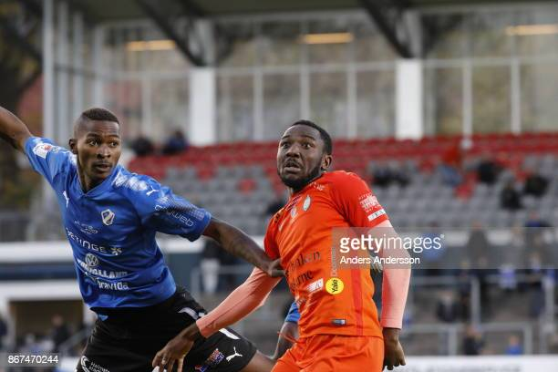 Chidi Dauda Omeje of Athletic FC Eskilstuna and Aboubakar Keita of Halmstad BK compete for the ball during the Allsvenskan match between Halmstad BK...