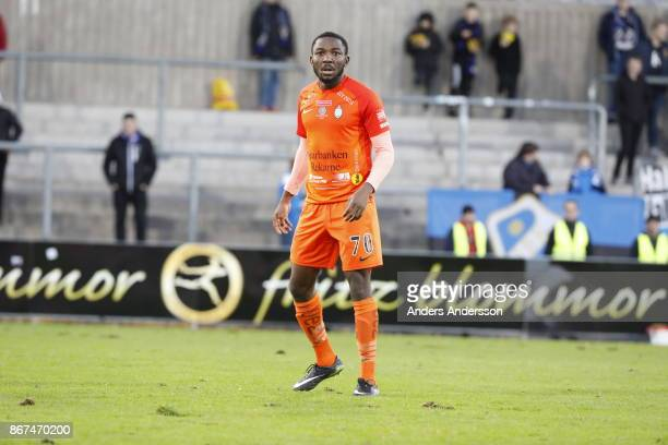 Chidi Dauda Omeje of Athletic FC Eskilstuna during the Allsvenskan match between Halmstad BK and Athletic FC Eskilstuna at Orjans Vall on October 28...