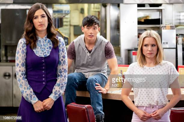 "Chidi Sees the Time-Knife"" Episode 312 -- Pictured: D'Arcy Carden as Janet, Manny Jacinto as Jason, Kristen Bell as Eleanor --"