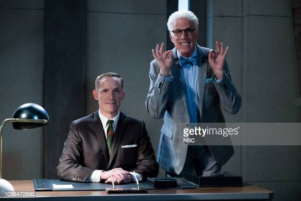 "Chidi Sees the Time-Knife"" Episode 312 -- Pictured: Marc Evan Jackson as Shawn, Ted Danson as Michael --"