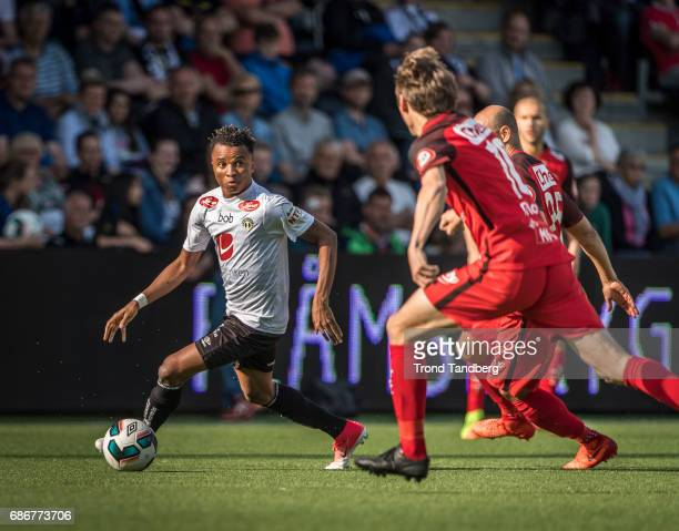Chidiebere Chijioke Nwakali of Sogndal during Eliteserie Match between Sogndal v Brann at Fosshaugane Campus on May 20 2017 in Sogndal Norway