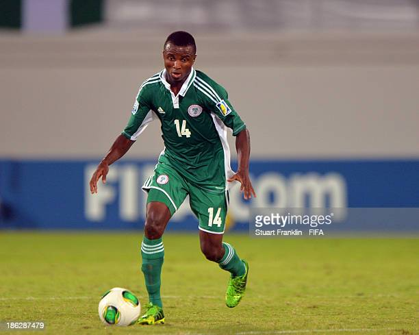 Chidiebere Nwakali of Nigeria in action during the round of 16 match between Nigeria and Iran at Khalifa Bin Zayed Stadium on October 29 2013 in Al...